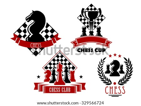 Chess club and tournament cup icons with king, queen, bishop, knight, rook and pawn pieces, trophy cup and chessboards, framed by laurel wreath, ribbon banners and stars  - stock vector