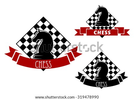 Chess club emblems with lack horse and chessboard on the background, framed by ribbon banners - stock vector