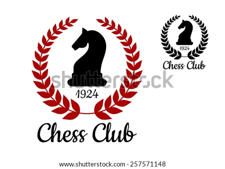 Chess club logo or emblem with black silhouette of horse figure bordered laurel wreath with date of foundation in two colors variations - stock vector