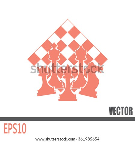 Chess club sport emblems or symbols with chessmen - stock vector