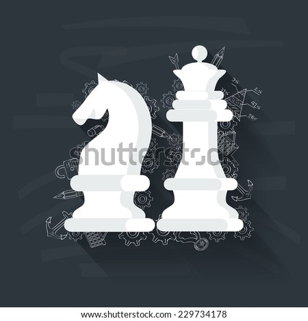 Chess concept on blackboard background,clean vector - stock vector