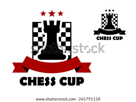 Chess cup logo or emblem template including black rook on chess board decorated red stars and ribbon banner with copy space - stock vector