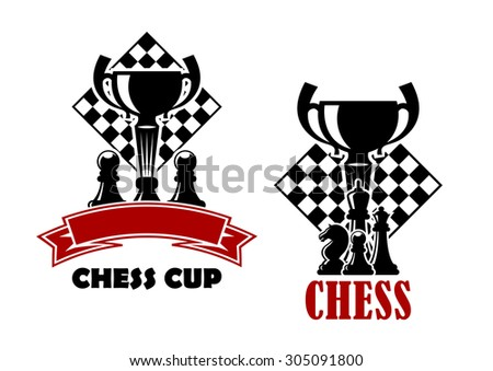 Chess cup tournament emblems or logo design templates showing turned chessboards with trophy cups and black pawns, king, queen, knight pieces decorated blank red ribbon banner - stock vector