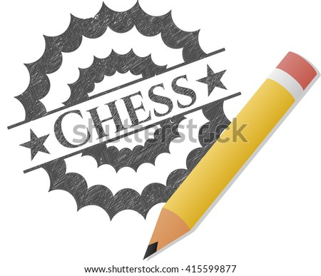 Chess emblem draw with pencil effect