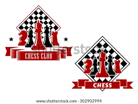 Chess emblems in black and red colors with king, queen, bishop, knight and rook pieces with turned chess board on the background, decorated with ribbon banners and stars - stock vector