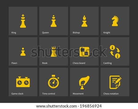Chess figures and board icons. Vector illustration. - stock vector