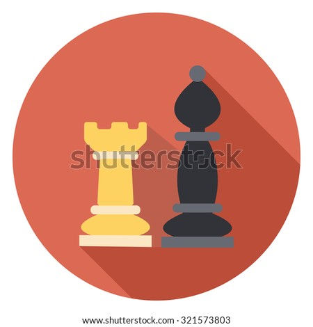 chess flat icon in circle