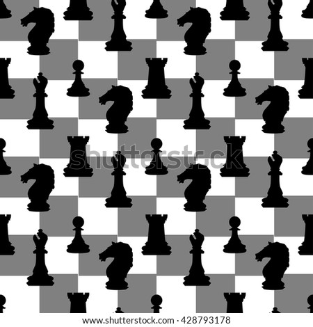 Chess game figures seamless colorful pattern
