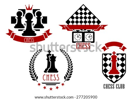 Chess game sports logos and emblems set isolated on white with red and black figures - stock vector
