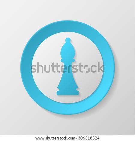Chess icon. Bishop convex icon. - stock vector