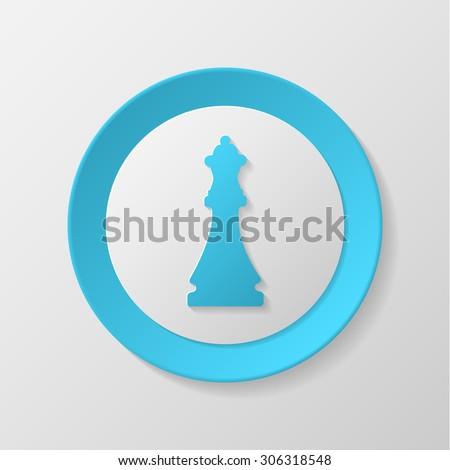 Chess icon. Queen convex icon. - stock vector