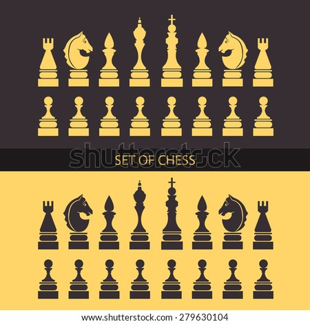 Chess icons set. Vector Illustration.