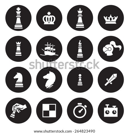 Chess icons. Vector - stock vector