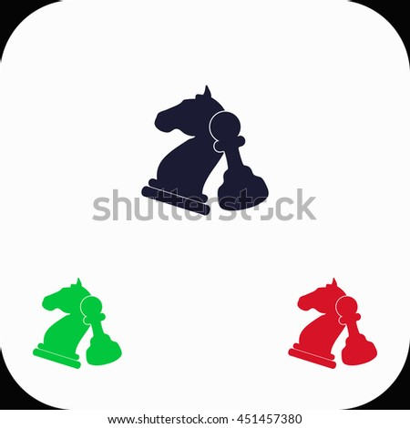 Chess Illustration set. Blue, green, red icon. - stock vector