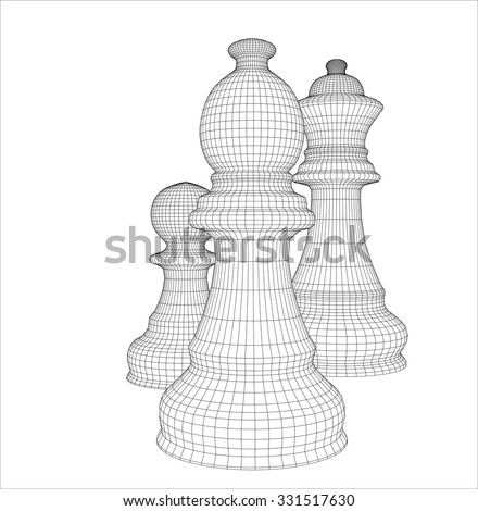 Chess in the vector. The outline of chess. Chess pieces for chess school or chess club.