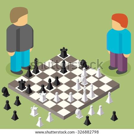 chess isometric. game isometric series - stock vector