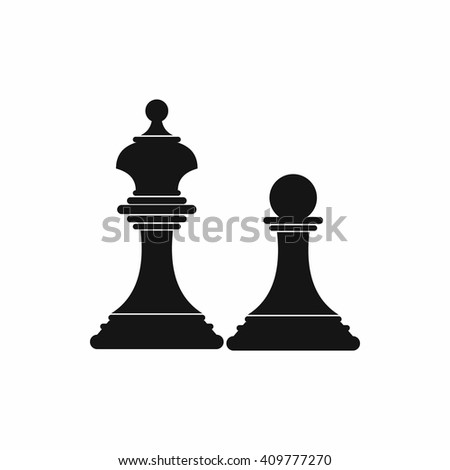 Chess king and chess pawn icon, simple style - stock vector