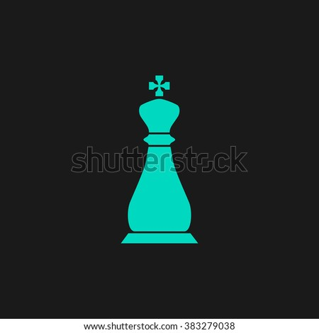 Chess king. Flat simple modern illustration pictogram. Collection concept symbol for infographic project and logo - stock vector