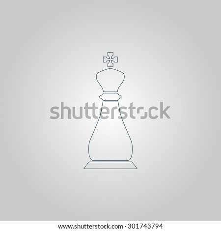 Chess king. Flat web icon or sign isolated on grey background. Collection modern trend concept design style vector illustration symbol - stock vector