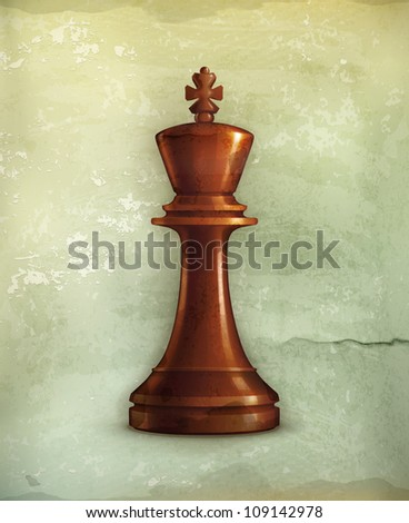 Chess King, old-style vector
