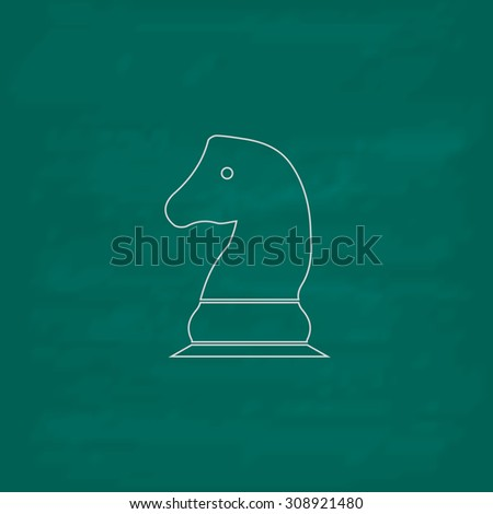 Chess knight. Outline vector icon. Imitation draw with white chalk on green chalkboard. Flat Pictogram and School board background. Illustration symbol
