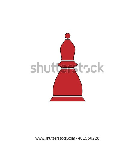 Chess officer. Red flat simple modern illustration icon with stroke. Collection concept vector pictogram for infographic project and logo - stock vector
