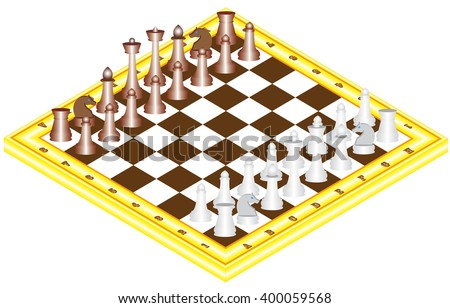 Chess on chess board. The starting positions of the chess pieces on the chess board - stock vector