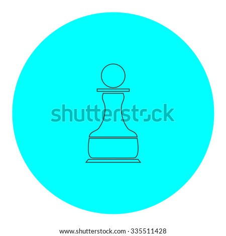 Chess Pawn. Black outline flat icon on blue circle. Simple vector illustration pictogram on white background - stock vector