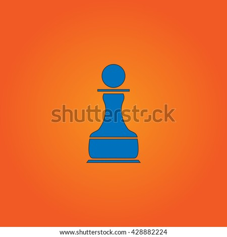 Chess Pawn. Blue flat icon with black stroke on orange background. Collection concept vector pictogram for infographic project and logo - stock vector