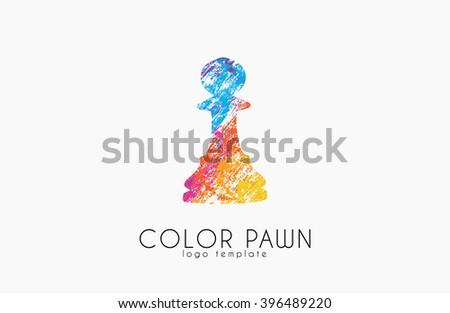 Chess pawn. Color pawn logo. Chess logo. Creative logo. - stock vector