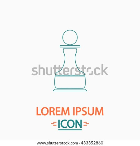 Chess Pawn Flat thin line icon on white background. Vector pictogram - stock vector
