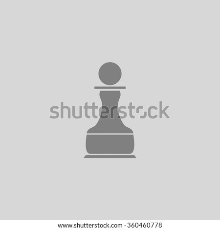 Chess Pawn - Grey flat icon on gray background - stock vector