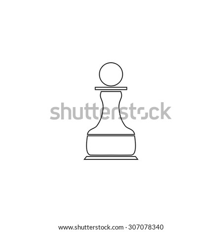 Chess Pawn. Outline black simple vector pictogram - stock vector