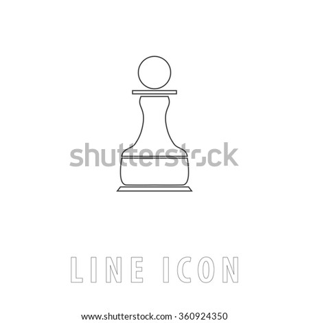 Chess Pawn Outline simple vector icon on white background. Line pictogram with text  - stock vector