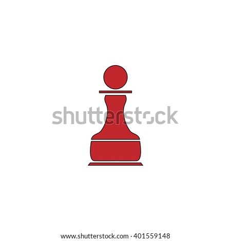 Chess Pawn. Red flat simple modern illustration icon with stroke. Collection concept vector pictogram for infographic project and logo - stock vector