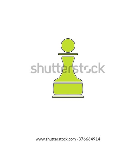Chess Pawn simple flat icon - stock vector