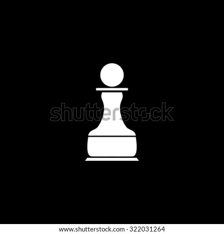 Chess Pawn. Simple flat icon. Black and white. Vector illustration - stock vector