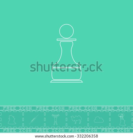 Chess Pawn. White outline flat symbol and bonus icon. Simple vector illustration pictogram on green background - stock vector