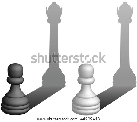 Chess pawns become queens - vector illustration - stock vector