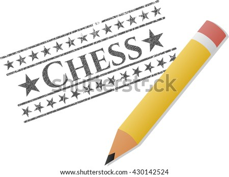 Chess pencil draw - stock vector