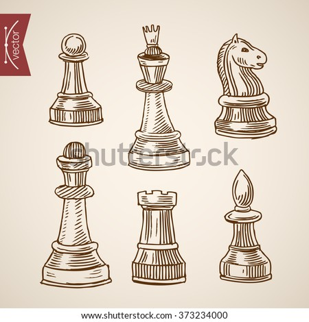 Chess piece figure king queen rook bishop knight pawn icon set. Engraving style pen pencil crosshatch hatching paper painting retro vintage vector lineart illustration. - stock vector