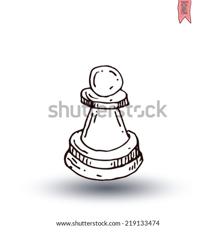 chess piece, hand drawn vector illustration. - stock vector