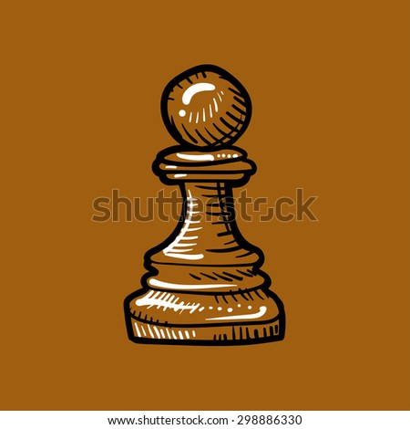 chess piece, pawn brown on a brown background, doodle - stock vector