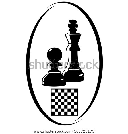 Chess pieces and chess board. Illustration on white background.