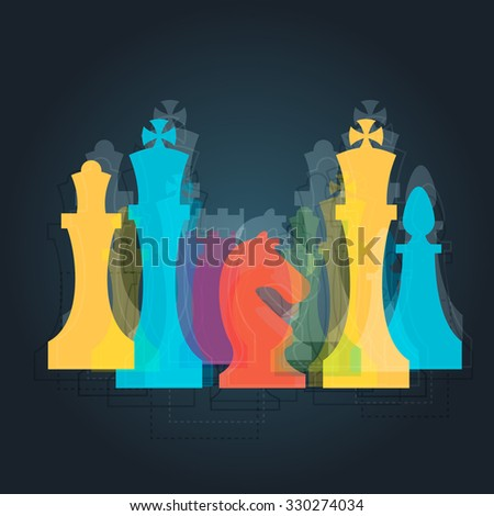 Chess pieces business sign & corporate identity template for Chess club or Chess school. Standard chess pieces vector icon set. Colorful chess vector illustration - stock vector