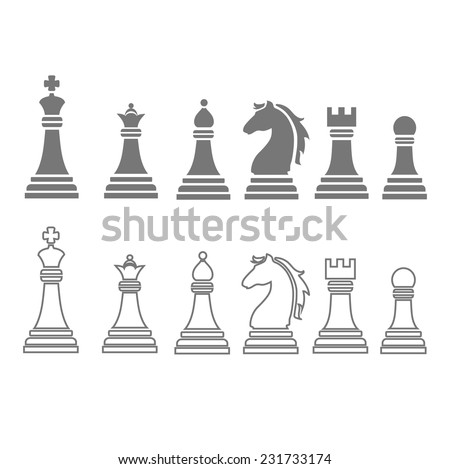 chess pieces including king, queen, rook, pawn, knight, and bishop  icons, vector set - stock vector