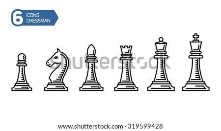 Chess Pieces. King Queen Rook Pawn Knight and Bishop. Vector Illustration Icons Set in trendy outline style. - stock vector