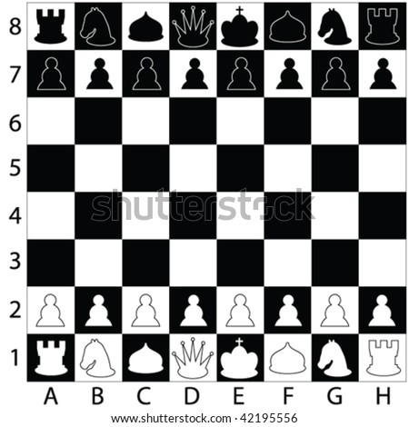 chess pieces on the board - vector - stock vector