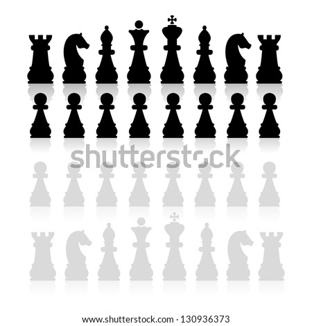 Chess pieces silhouette, vector