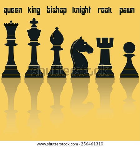 Chess Pieces Silhouettes with Reflection. Queen, King, Bishop, Knight, Rook, Pawn. chess Vector, Chess black color image, chess flat style web icon, Chess concept set for design, Chess illustration - stock vector